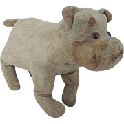 Antique Primitive Folk Art Velveteen Straw Stuffed Dog Toy