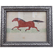 19th C. Naive Folk Art Miniature Watercolor of Running Horse