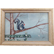 SALE Vintage Mid 20th C. Canadian Folk Art Squirrel Picture Made of Stamps