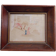Vintage Early to Mid 1900's Folk Art Miniature Watercolor of Mother & Son Waving to ...