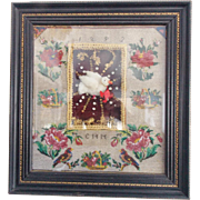 Antique Dated 1892 Folk Art Beaded Sampler Shadow Box With Birds & Flowers