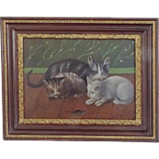 SALE Early 1900's Folk Art Oil Painting of Mama Cat, 2 Kittens, & Mouse