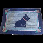 SALE Large Vintage 1930's-40's Hooked Scotty Dog Rug