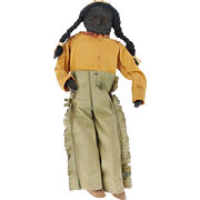 SALE Early 1900's Primitive Folk Art Native American Brave Apple Head Doll