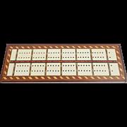 SALE Vintage Signed Folk Art Inlaid Cribbage Game Board
