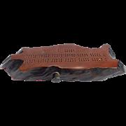 SALE Vintage Montana Folk Art Natural Wood Form Cribbage Board