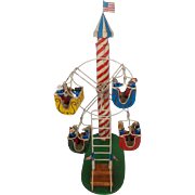 SALE Folk Art 4-Car Ferris Wheel Toy w/Dogs & Cats Playing Instruments
