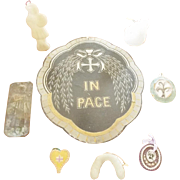 SALE Collection of 8 Vintage & Antique Catholic Folk Art Items Including Reliquary w/Hair of .
