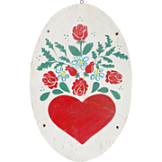SALE Vintage Folk Art Produce Market Trade Sign for Valentine's Day With Heart & Roses