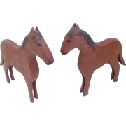 SALE Pair of Vintage Primitive Hand Made Folk Art Horses