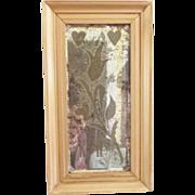 SALE 19th C. PA. Dutch Style Folk Art Etched & Beveled Framed Mirror Love Token