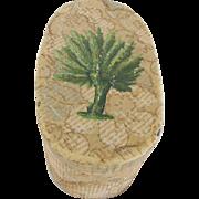 SALE 19th C. Lancaster, PA. Folk Art Wallpaper Box with Applied Palm Tree Design