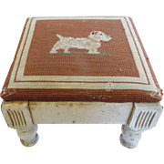SALE Early 1900's Oyster White Footstool with Jack Russell Needlepoint Top