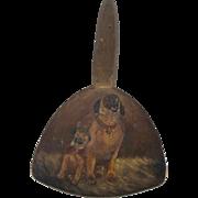 19th C. Folk Art Hand Painted Butter Paddle of English Mastiff Dog & Puppy