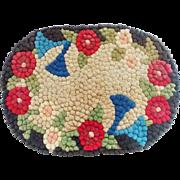 Vintage Mid 20th C. Folk Art Floral Motif Pompom Rug