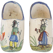 SALE Pair of Vintage Signed Henriot Quimper Pottery Tiny Shoe Whimsies