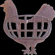SALE Primitive Folk Art Cut Iron Rooster Planter