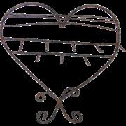 SALE Vintage Primitive Hand Wrought Iron Folk Art Heart Shaped Table Top Display Rack