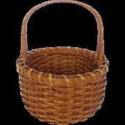 "SOLD Vintage Small 6 1/2"" Diameter New England Gathering Egg Basket"