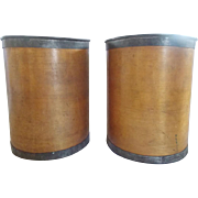 "SOLD Pair of 19th Century Primitive Round Bentwood Storage Containers Marked ""New York"""