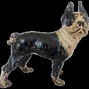 SOLD Antique Painted Cast Iron Hubley Boston Terrier Doorstop