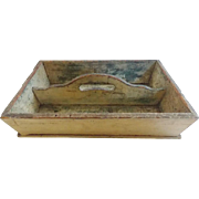 SOLD Mid 19th C. Primitive Pine Mustard Over Green Painted Cutlery Box