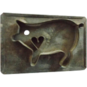 SALE Vintage Primitive Folk Art Cut Tin Pig With Heart Cookie Cutter