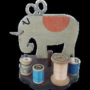 Vintage Primitive Folk Art Elephant Sewing Caddy Stand