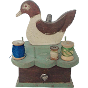 Vintage Primitive Folk Art Duck Sewing Caddy Stand With Drawer