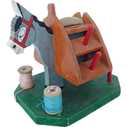 Vintage Signed Folk Art Donkey Sewing Caddy Stand