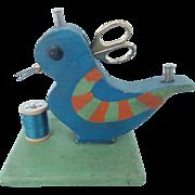 Vintage Folk Art Child's  Bluebird Sewing Caddy Stand