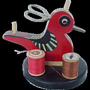 Vintage Folk Art Red Bird Child's Sewing Caddy Stand
