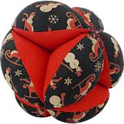 Vintage Mid 20th C. Folk Art Puzzle Ball Pin Cushion With Snowman Print Fabric