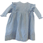 SALE Early 1900's Blue & White Homespun Infant's Dress