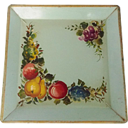 SALE Unusual Vintage Square Shape Painted Fruit Motif Toleware Tray in Robin's Egg Blue