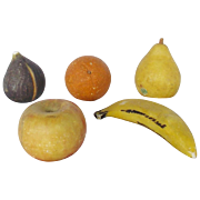 SALE 5 Pieces of Vintage Italian Stone Fruit inc. Banana, Fig, Orange, Apple, & Pear