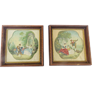 SALE Pair of Matching Framed Vintage French Romantic Prints on Cloth With Embroidered Details