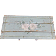 Vintage Primitive Folk Art Shabby Chic Small Blue Painted Bench w/Floral Design