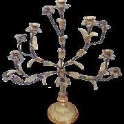 Vintage Shabby Chic Floral Design Brass Candelabra