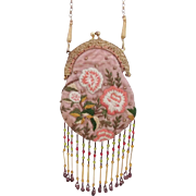 Art Nouveau Style Hand Embroidered Evening Purse With Long Beaded Fringe