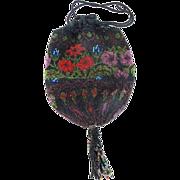 SALE Vintage 1920's Hand Beaded Floral Design Reticule Handbag Purse