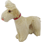 SALE Vintage Tiny Articulated White Mohair Poodle Dog Toy with Glass Eyes