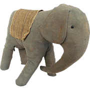 SALE Late 19th-Early 20th C. Primitive Folk Art Elephant Stuffed Toy