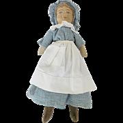 """SOLD C. 1920's 14 1/2""""  Litho Face Babyland Prairie Rag Doll"""