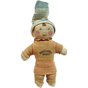 SALE Rare 1920's Advertising Buster Brown Sock Doll With Hand Painted Face