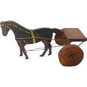 SALE Antique Primitive Folk Art Articulated Horse and Cart Toy