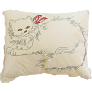 Vintage Hand Made Pillow With Embroidered Cat & Lace Tatting Trim