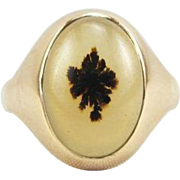 Victorian 10K Gold Dendritic Moss Agate Ring Size 12