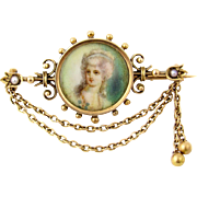 Victorian 14k Gold Festoon Miniature Portrait Pin