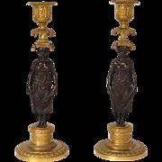Antique French bronze pair of candlesticks with caryatids, era Napoleonic Empire 19th   centur